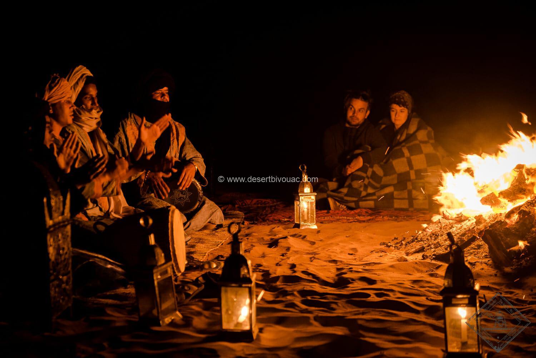 Desert Bivouac Campfire in the desert